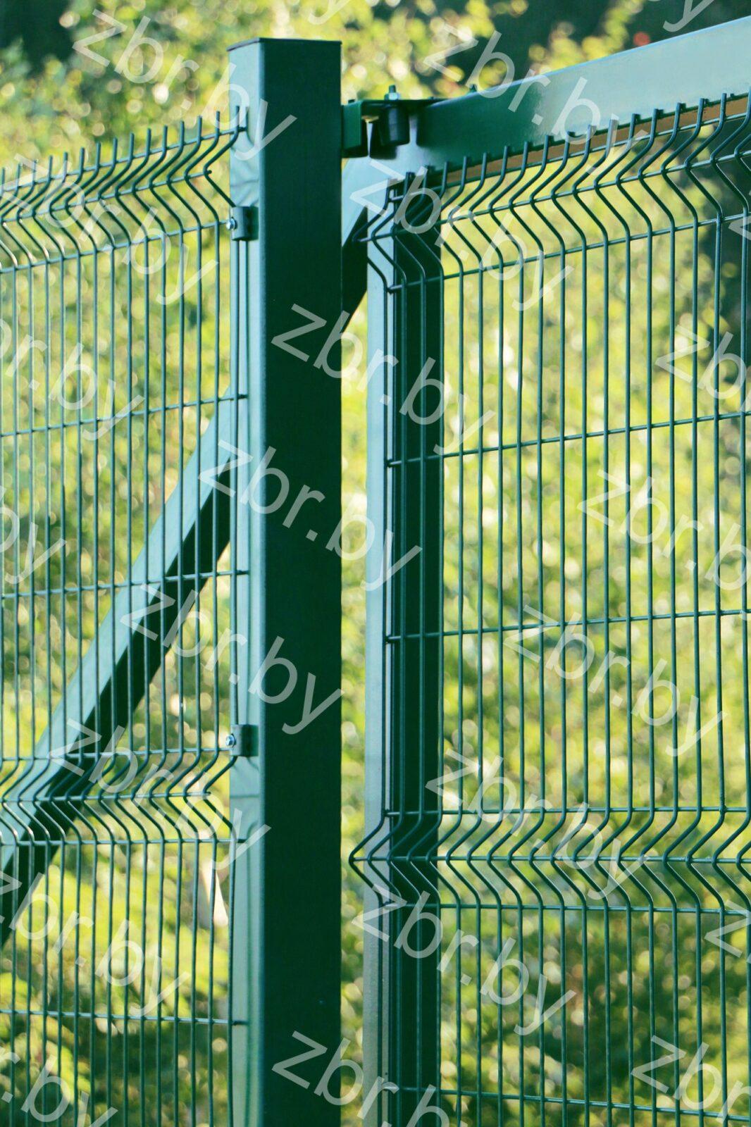 3D забор в откатных воротах