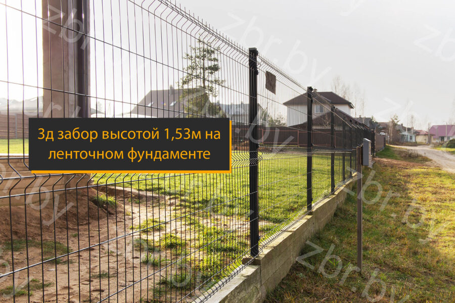 3д забор на ленточном фундаменте