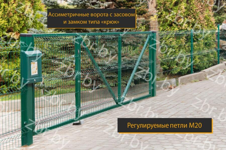 зеленые распашные ворота минск